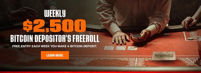 Weekly $2,500 Bitcoin Depositor's Freeroll